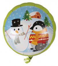 ballon rond bonhomme de neige et pingouin