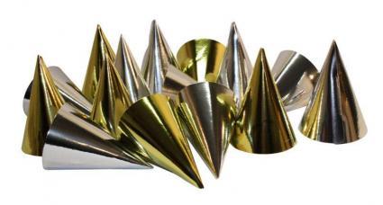 chapeau pointu carton or et argent metallise