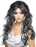Perruque gothique fiancée noire et blanche