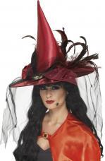 Chapeau de Sorcière Rouge Plumes et Filet fixe