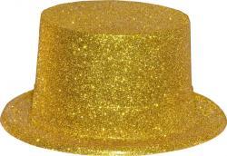 Chapeau Haut de Forme Or Pailleté