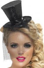 Mini Chapeau Haut de Forme Noir Pailleté