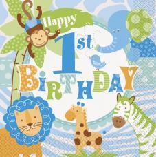 20 serviettes anniversaire safari bleu