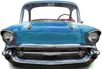 figurine geante voiture bleue