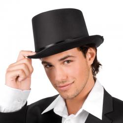 Chapeau haut de forme en satin noir pas cher