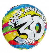 ballon helium joyeux anniversaire 30 ans