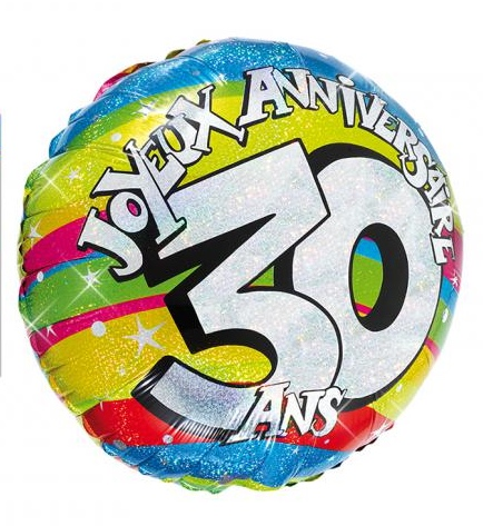 ballon h lium joyeux anniversaire 30 ans pas cher. Black Bedroom Furniture Sets. Home Design Ideas