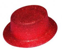 chapeau haut de forme rouge paillete