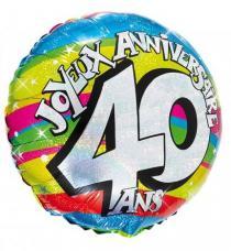 ballon helium joyeux anniversaire 40 ans
