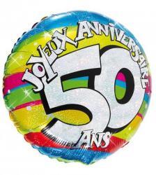 Ballon hélium joyeux anniversaire 50 ans pas cher