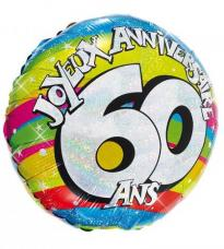 ballon helium joyeux anniversaire 60 ans