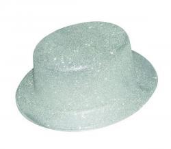 Chapeau haut de forme Argent pailleté pas cher
