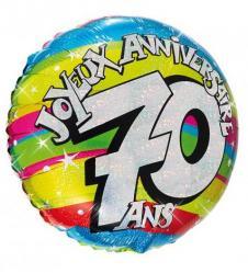 Ballon hélium joyeux anniversaire 70 ans pas cher