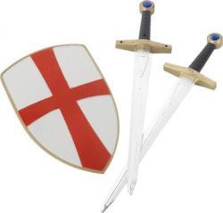 Set de chevalier croisé avec bouclier et deux épées pas cher