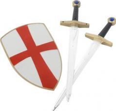 set de chevalier croise avec bouclier et deux epees