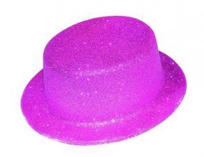 chapeau haut de forme fuchsia paillete