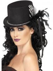 chapeau haut de forme noir avec main de squelette