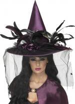 Déguisements Chapeau de Sorcière Violet Plumes et Filet fixe