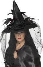 Déguisements Chapeau de Sorcière Noir Plumes et Filet luxe