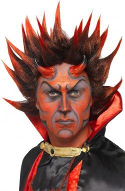 Perruque Diable Punk rouge et noire