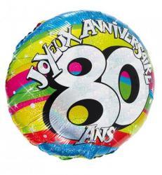 Ballon hélium joyeux anniversaire 80 ans pas cher