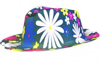 chapeau imprime fleuri