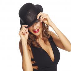 chapeau melon noir paillete
