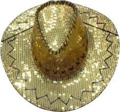 chapeau cow boy paillettes or