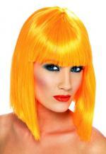 Perruque orange coupe carré femme avec frange