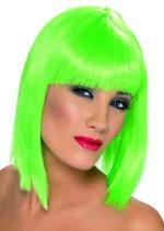 Perruque verte coupe carré femme avec frange