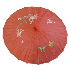 Ombrelle Chinoise en Tissu Décoré Rouge