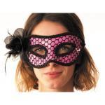 Masque Carnaval Rose Résille