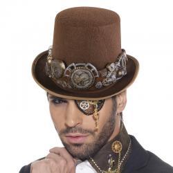 Chapeau haut de forme marron steampunk de luxe pas cher