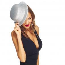 chapeau melon argent paillete