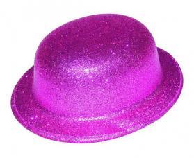 chapeau melon rose paillete plastique