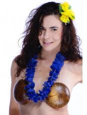 collier hawaien tissu bleu