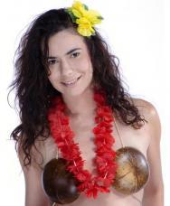 collier hawaien tissu rouge