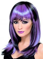 perruque sorciere noire et violette