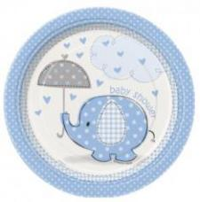 8 assiettes a dessert baby shower elephant bleu
