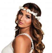 bandeau a fleurs adulte blanc