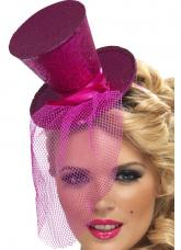 mini chapeau haut de forme rose paillete