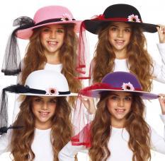 chapeau enfant avec voilage et fleur