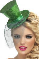 mini chapeau haut de forme vert paillete