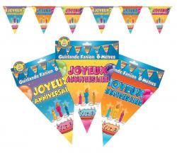Guirlande fanions joyeux anniversaire en plastique
