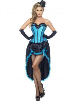Déguisement Danseuse Burlesque Bleu Et Noir