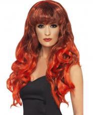 perruque sorciere inferno rouge meche noir