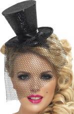 mini chapeau haut de forme noir paillete