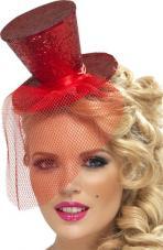 mini chapeau haut de forme rouge paillete