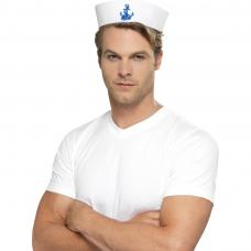 chapeau marin blanc avec ancre bleu