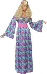 Déguisement Hippie femme robe longue flower pas cher